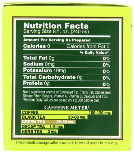 Bigelow Green Tea Bags, 20 Count Box (Pack of 6) Caffeinated Green Tea, 120 Tea Bags Total 2 DELICATE GREEN TEA: Our Classic Green Tea provides essential antioxidants making it delicious & healthy! Enjoy it as traditional hot tea or iced tea. INDIVIDUALLY WRAPPED: Bigelow tea always come individually wrapped in foil pouches for peak flavor, freshness and aroma to enjoy everywhere you go! Gluten -free, calorie-free, & Kosher certified. TRY EVERY FLAVOR: There's a tea for morning, noon & night time relaxation. Try our English Breakfast, Vanilla Chai, antioxidant Green Tea, decaffeinated, organic teas & a variety of our herbal tea bags.
