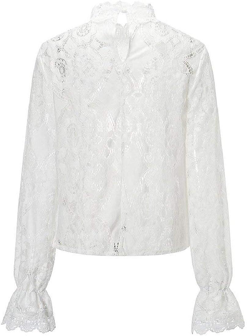 DEELIN Camiseta Mujer Manga Larga Blusa Pullover Silod Encaje Casual Loose Tank Tops: Amazon.es: Ropa y accesorios
