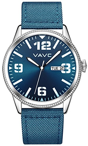 VAVC Men's Fashion Minimalist Casual Blue Nylon Band Analog Quartz Wrist Watch with Blue Dial and Day Date