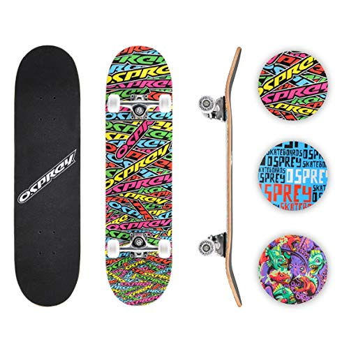 Osprey Skateboards for Beginners - 31 Inch Double Kick Concave Teens Kids Skateboard with 7 Layer Maple Deck –110lbs Max User Weight – Multiple Designs