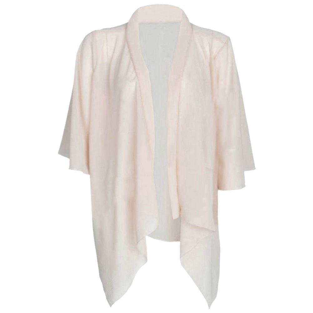 Janisramone Nuovo da Donna Tinta Unita Chiffon Kimono Aperto A Cascata Cardigan Coprispalle Tops UK8-22