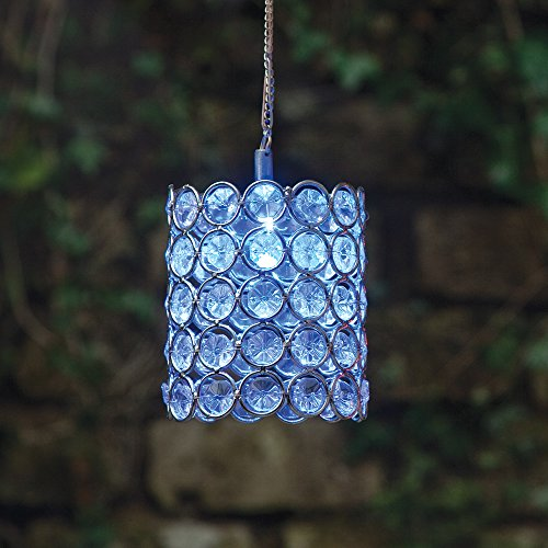Bits and Pieces - Solar Powered Hanging Color Changing Sparkling Jeweled Cylinder - Beautiful Hanging Garden Decoration (Direct Cylinder)