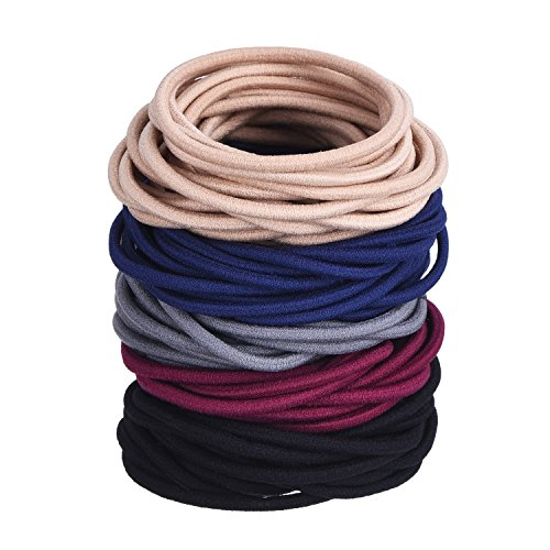 Price comparison product image eBoot 100 Pieces Hair Elastics Hair Ties Ponytail Holders Hair Bands Bulk (Mulitcolor)