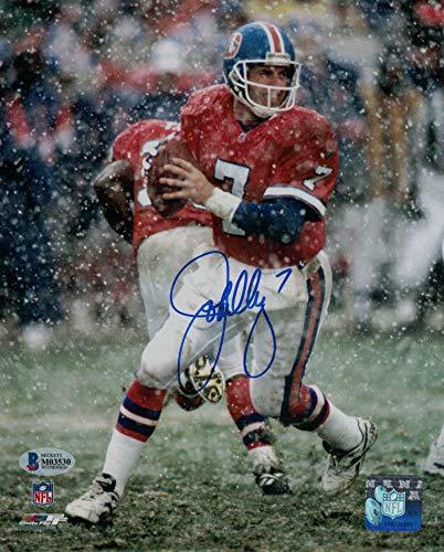 (John Elway Autographed/Signed Denver Broncos 8x10 Photo Snow BAS)
