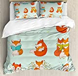 Fox Duvet Cover Set Queen Size by Ambesonne, Lovely Fox Characters Sleeping Reading Romantic Couple Nature Collection Kids Comic, Decorative 3 Piece Bedding Set with 2 Pillow Shams, Multicolor