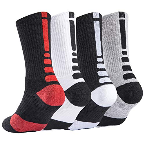 Mens Basketball Socks Cushion Athletic Long Sports Outdoor Socks Dri-fit Compression Sock for Boy Girl Men Women 6.5-11.5 (4 Pairs, One Size)