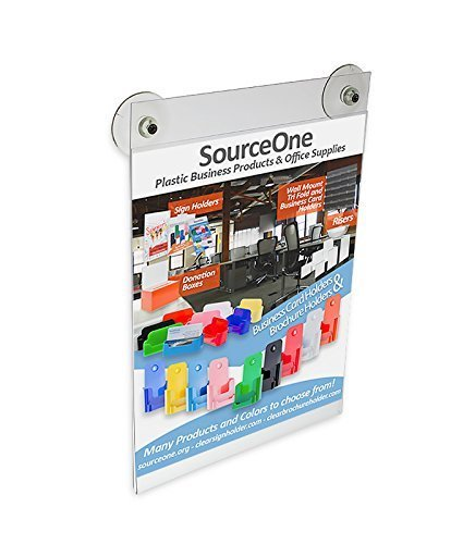 Source One 8 1/2 x 11 Inches Sign Holder Glass Window Mount with 2 Suction Cups (6 Pack)
