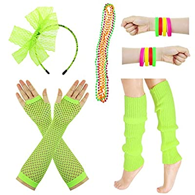 JINSEY Women's 80s Outfit accessories Leg Warmers Gloves For 1980s Theme Party Supplies