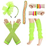 JINSEY Women's 80s Outfit accessories Leg Warmers Gloves For 1980s Theme Party Supplies-Green