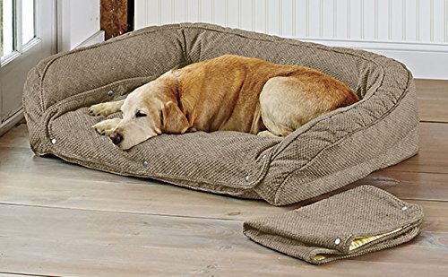 Orvis Memory Foam Bolster Dog Bed With Snap-off Pads Cover / Large, Brown Tweed, Large by Orvis