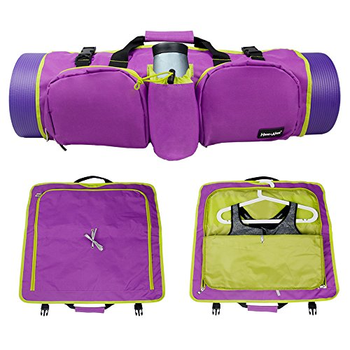 Hans & Alice Large Yoga Mat Bag with 3 Zippered Pockets (Purple/Green)