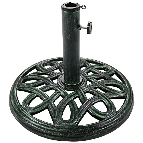 (Sunnydaze Patio Umbrella Base Stand, Outdoor Heavy Duty Cast Iron Umbrella Holder, Decorative Design, 17-Inch)