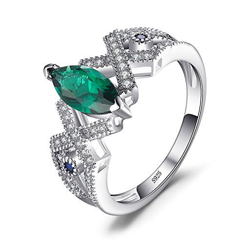 JewelryPalace Marquise 2.5ct Nano Russian Simulated Emerald Statement Ring 925 Sterling Silver Size 8 Emerald Spinel Ring