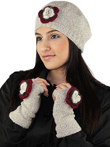 ハンドメイドPureアルパカベレー帽帽子と指なし手袋セット – オートミール(カスタムメイド)