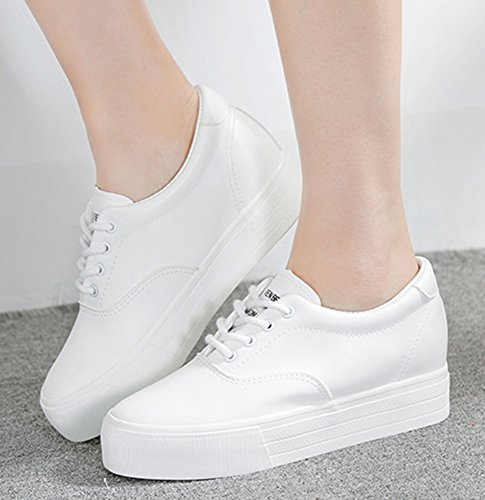 Sfnld Womens Fashion Lace Up Bas Plate-forme Cachée Baskets À Talons Blanc