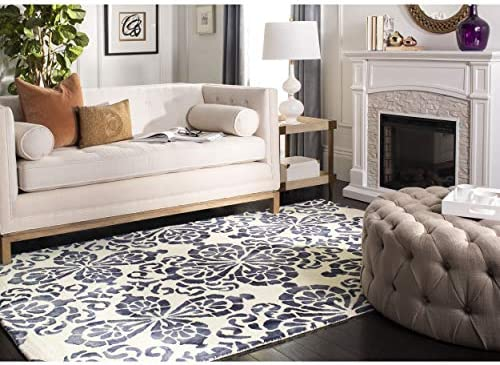 Safavieh Dip Dye Collection DDY719P Handmade Geometric Medallion Watercolor Ivory and Navy Wool Area Rug 8 x 10