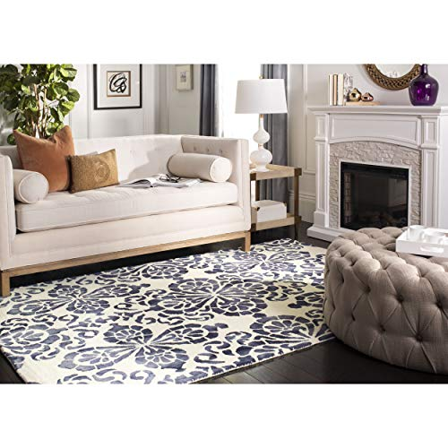 Safavieh Dip Dye Collection DDY719P Handmade Geometric Medallion Watercolor Ivory and Navy Wool Area Rug 4 x 6