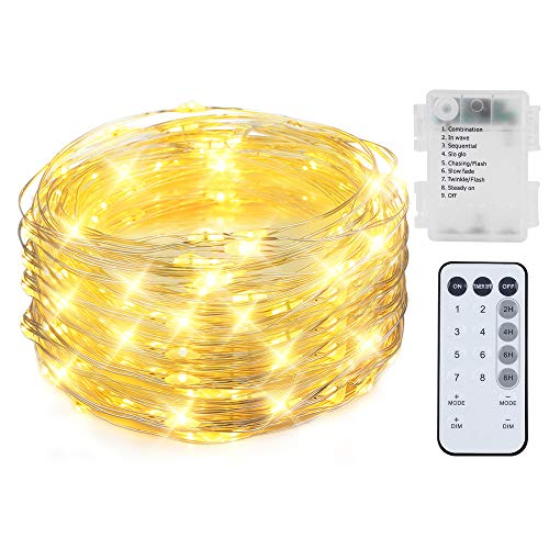 200 LED String Lights Battery Powered 66ft Dimmable Waterproof Fairy Lights Battery Operated for Outdoor Indoor Remote Control Warm White Copper Wire Rope Lights Patio -