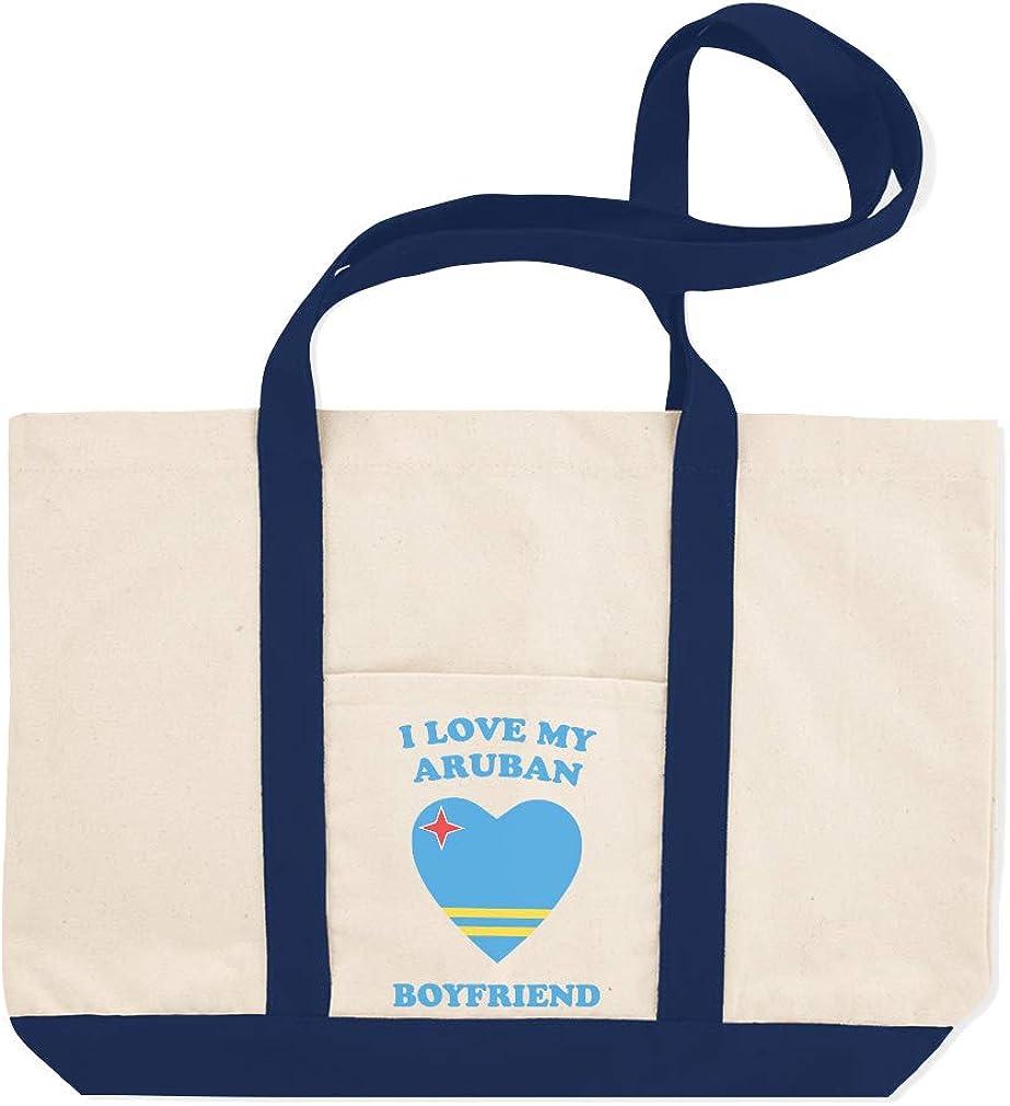 Canvas Shopping Tote Bag I Love My Aruban Boyfriend Countries Aruban Heart Flag Beach Bags for Women