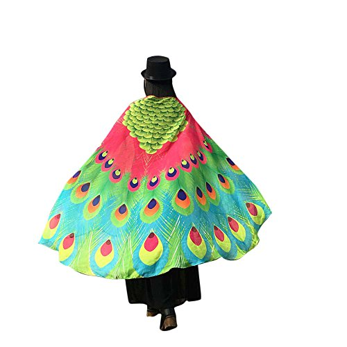 iDWZA Colorful Peacock Wings Shawl Fairy Ladies Nymph Pixie Costume Accessory(197125cm,Hot Pink) -