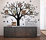 LUCKKYY Grant Family Tree Wall Decal with Family Like Branches on a Tree Wall Decal Sticker Quote wall decorations for living room(83'' wide x 83'' high ) (Black)