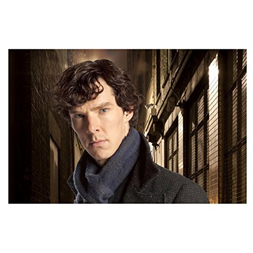 Sherlock (2010 - ) 11 Inch x 17 Inch lithograph Benedict Cumberbatch Blue Scarf Grey Coat Head Tilted Forward Slightly Chin Down kn
