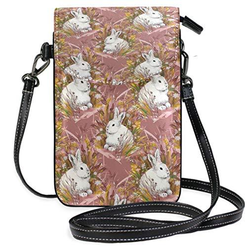 Stylish Rabbit Background Small Crossbody Bag Cellphone Pouch Womens Cute Leater Handbag]()