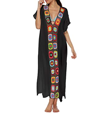 e8b470669b5 Bigbigfuture Women's Print Kaftan Loungewear Caftan Beach Long Dress Bikini Swimsuit  Cover up Swimwear (Black