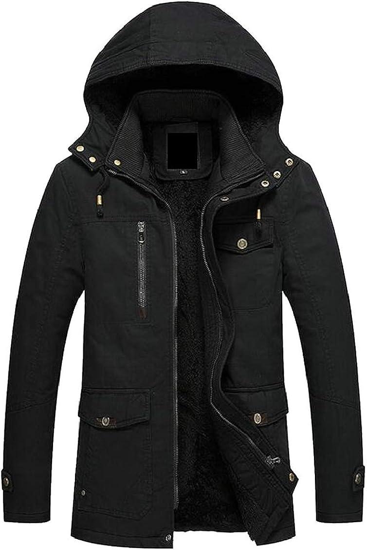 XQS Mens Warm Thicken Fleece Lined Hoodie Military Windbreaker Jacket