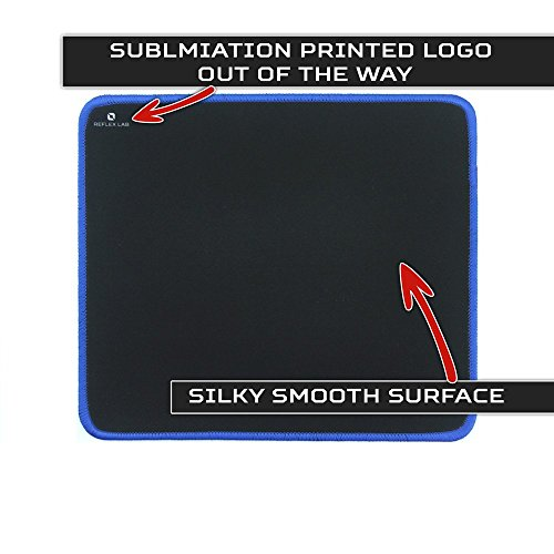 "Reflex Lab Mouse Pad/Mat, (Blue) Stitched Edges, Waterproof, Ultra Thick 3mm, Silky Smooth - 9""x8"" Mousepad"