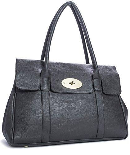 sac cuir gris Grand foncé Bandoulière synthétique main avec en cuir à zIqwqrxdng