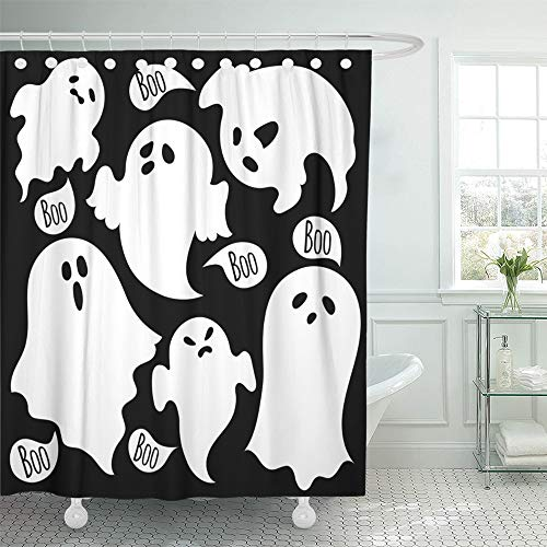Emvency Decorative Shower Curtain Halloween Scary Ghosts Shape Cartoon Funny Abstraction Apparition Draw Drawing 72