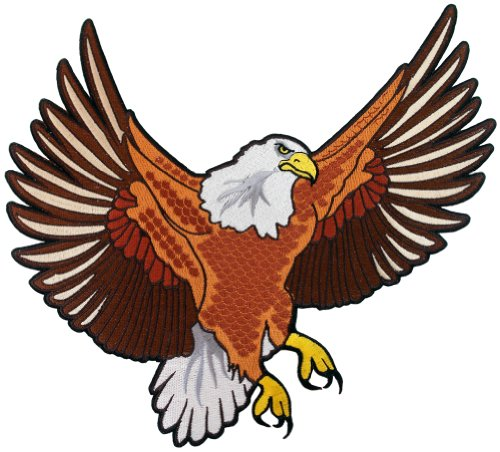 Bald Eagle Embroidered Patch Large Patriotic American Iron-On Emblem (Embroidery Flag Eagle)
