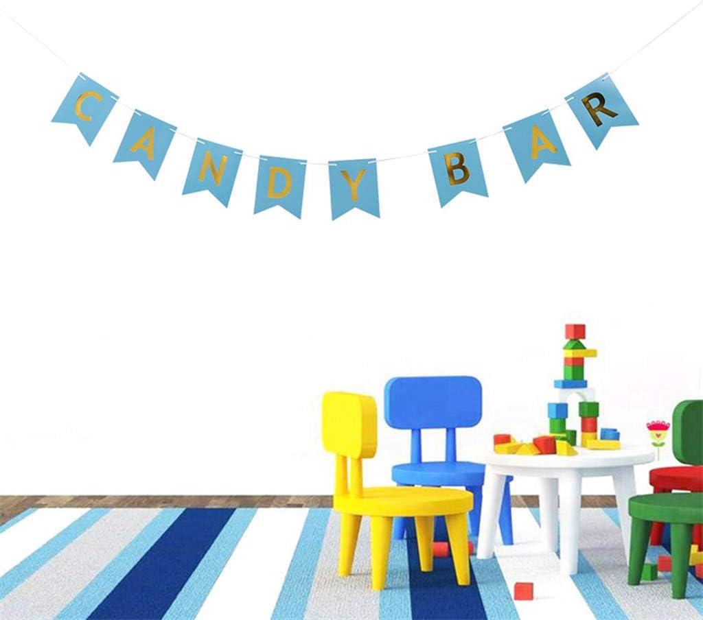 2 St/ück Papier Banner Dekoration Zubeh/ör Candy Bar Candybar Girlande Banner Candy Bar Dekoration Zubeh/ör f/ür Hochzeit Party Geburtstag Decor Event Supplies JGA Junggesellinnenabschied Rosa Blau