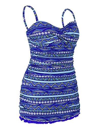 Hilor Womens One Piece Swimsuits Tummy Control Swimwear Ruffle Swimdress with Built in Swim Brief