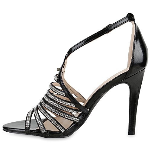 Stiefelparadies Damen Strass Sandaletten Stiletto High Heels Party Schuhe Metallic Glitzer Brautschuhe Hochzeit Nieten Schnallen Velours Animal Prints Flandell Schwarz Glatt Steinchen