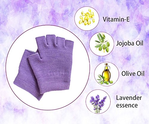 Hocee Moisturizing Gel Gloves Touch Screen Spa Moisture Skin Care Soft Cotton with Gel Repair Heal Eczema Cracked Dry Hand, Gel Lining Infused with Essential Oils and Vitamins, A Pair (Purple) by Hocee (Image #1)