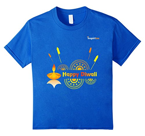 Kids Inspiritee - Happy Diwali - T Shirt 3 4 Royal Blue by Inspiritee