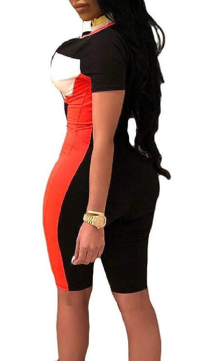 Jmwss QD Womens Color Block Stretchy Biker Skinny V-Neck Front-Zip Jumpsuits Rompers