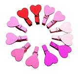 Sandistore 12Pcs Mini Heart Love Wooden Clothes Photo Paper Peg Pin Clothespin Craft Clips