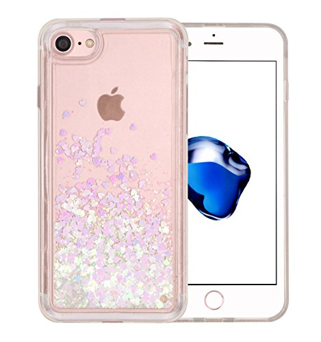 Iphone 7 Liquid quicksand floating Case, BLLQ Twinkle Luxury shiny hearts Quicksand hearts Liquid Shiny Bling Glitter Sparkle Transparent Hard PC Case with TPU Frame for iphone 7 ( heartpink ) (Tpu Frame)