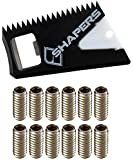 Shapers Surf Wax Comb with Fin Key & Future Fin Screws (12 Screws)   Wax Comb for Surfboard