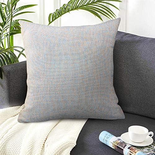 Handmade Cotton Linen Decorative Pillows for Living Room, Indoor Outdoor Throw Pillowcase, 1 x Pillow Cover 1 x Pillow Insert – 2020 – Grey Blue