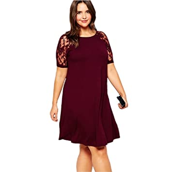 Ladies Plus Size Wine Lace Sleeve Swing Dress Mini Dress Club Wear
