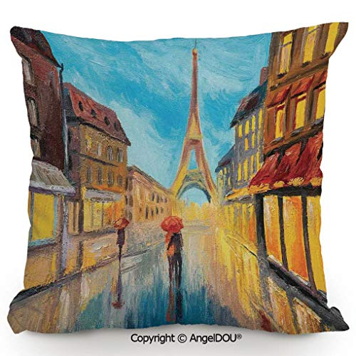 AngelDOU Back Cushion Nice Throw Pillow,Couple with Umbrella on Historical Street to Eiffel Tower Paris Art,Sofa Bed Head Waist Pillow Back car Waist pad.15.7x15.7 inches ()
