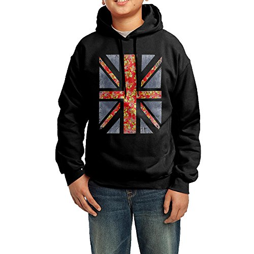 Floral Print Union Jack Boys' Pullover Hooded Sweatshirt (Fat Tire Hoodie compare prices)