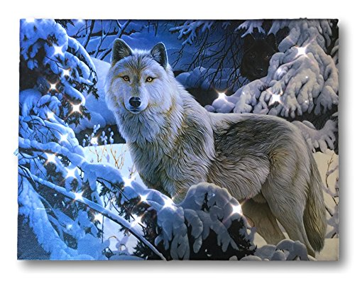 Wolf LED Lighted Canvas Print Home Decor - Lone Gray Wolf