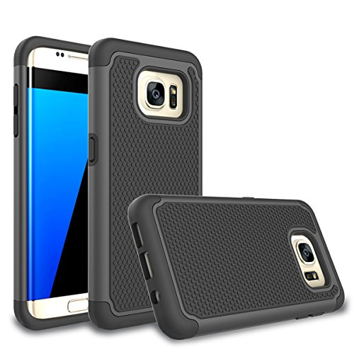 (Galaxy S7 Edge Case, Bestselling Shop Shock Absorbing Hybrid Rubber Plastic Impact Defender Rugged Slim Hard Case Cover Shell for Samsung Galaxy S7 Edge S VII G935 GS7edge (Black/Black))