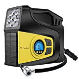 Digital Air Inflator, FYLINA Preset Air Compressor Tire Pump, 12V 120W 120PSI Tire Inflator with Larger Air Flow 35L/Min, 2 Nozzle Adaptors , 3 Mode LED Light, Extra Fuse and Progress Display for Cars/Bikes/Airbeds/Motorcycles/Basketballs