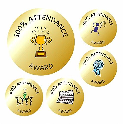 Attendance Stickers - 70 35mm Gold Metallic Attendance Reward School Stickers- Teacher Awards